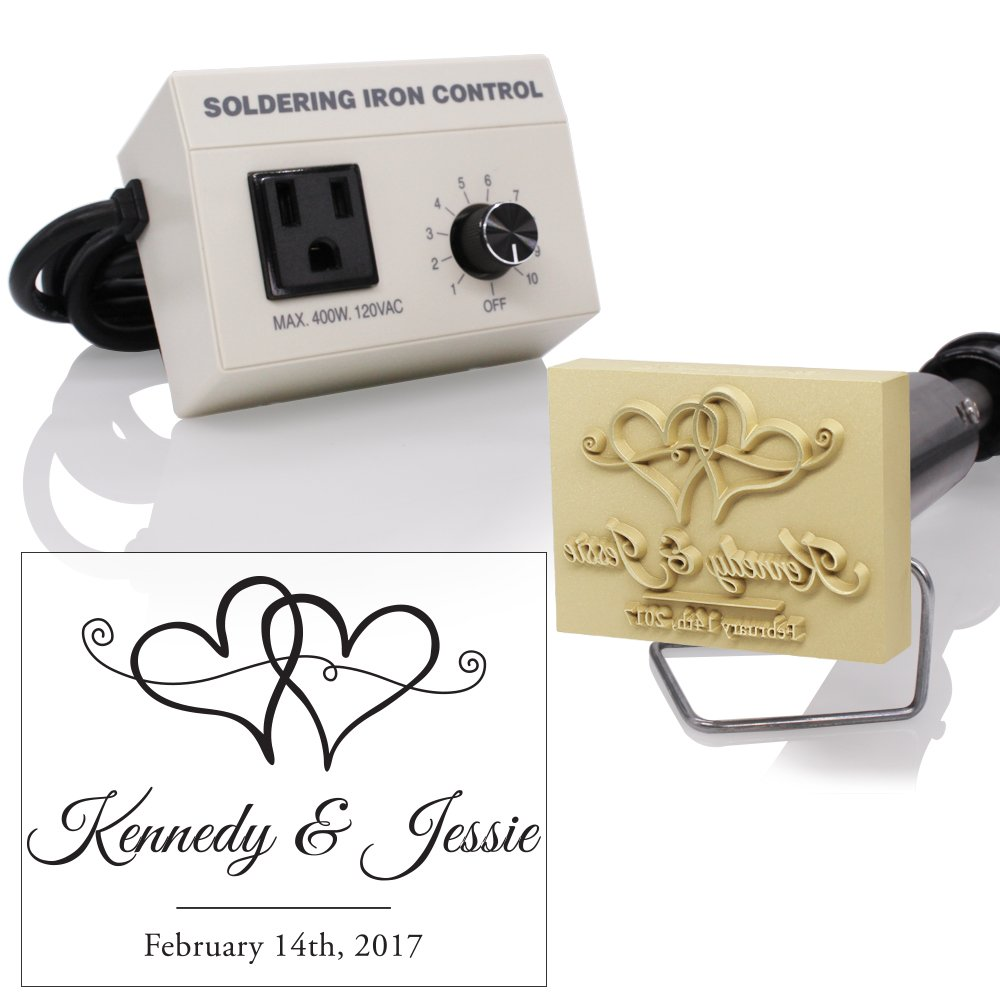 Custom Electric Branding Iron with Wedding Hearts Design Includes Heating Tool and Temp Control Unit