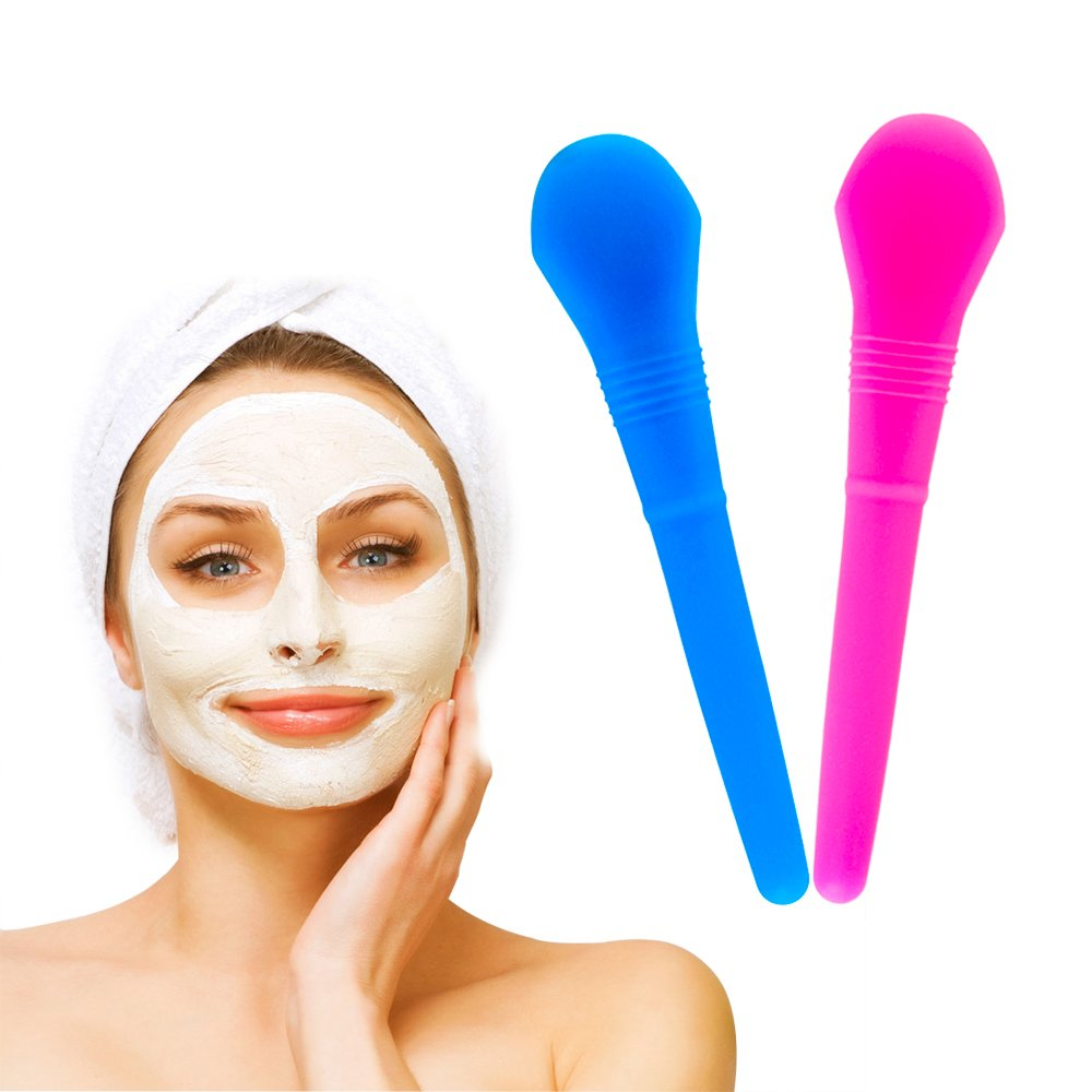 Face Mask Brush, 2 piece Silicone Face Mask Brush, Soft Silicone Facial Mud Mask Applicator Brush, Mask Easy to Distribute Easily Across face konglin
