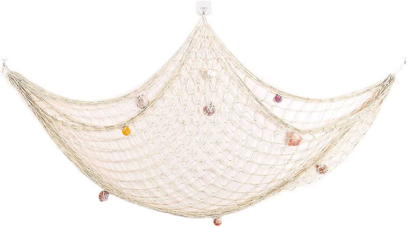 Sanlykate Decorative Fish Net, Nautical Fishing Net Decor for Party, Mediterranean Style Photographing Accessory, Natural Cotton Fishnet Decor for Wall/Table/Home, 200x150cm