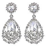 BriLove Wedding Bridal Dangle Earrings for Women Bohemian Teardrop Cluster Crystal Chandelier Earrings Clear Silver-Tone