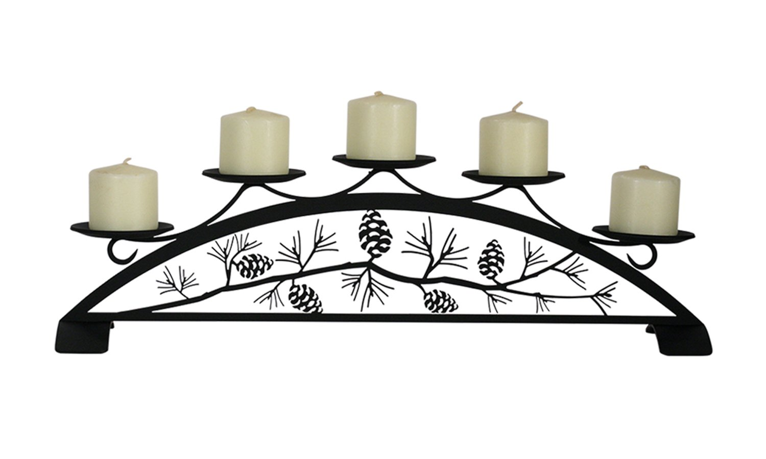Village Wrought Iron VMI C-PLB-89 Pinecone - Table Top/Fireplace Pillar Candle Holder