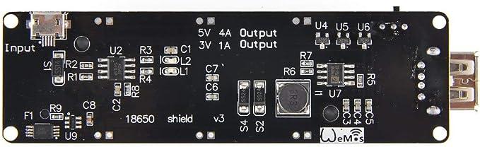 ARCELI Wemos 18650 Battery Shield V3 ESP32 for Raspberry Pi and Arduino
