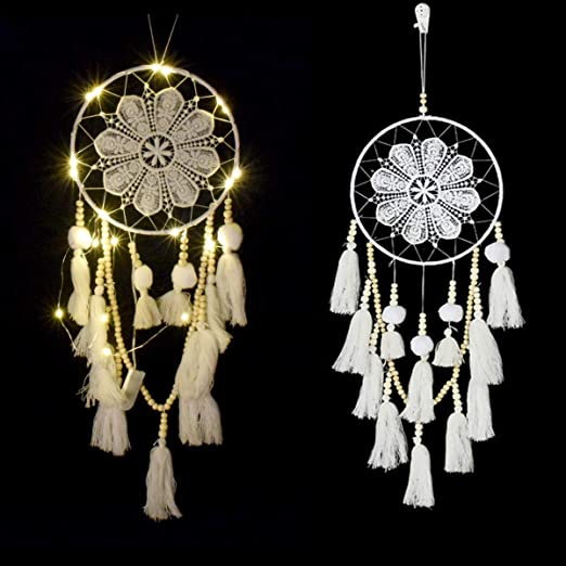 1PCS LED Light Dreamcatcher with Green Feather Dream Catcher Wall Hanging Gifts