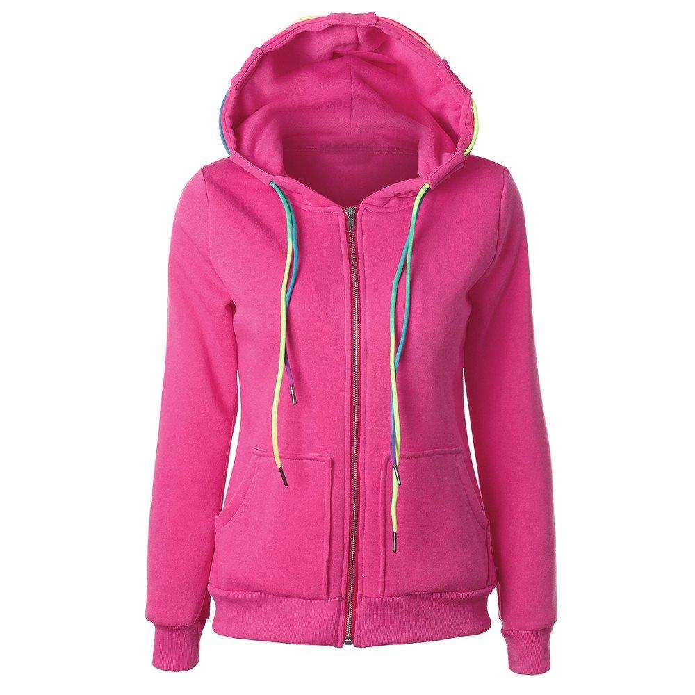 ✿ Mode Femmes Manteau , Ularmo® Sweat à Capuche Sweat-shirt Veste à Fermeture éclair ✿ (M, Rose) ✿ Mode Femmes Manteau Ularmo® -23