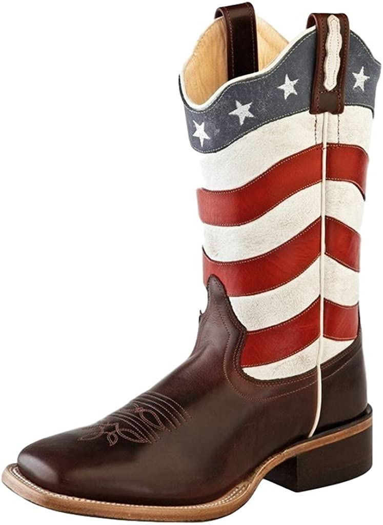 Broad Square Toe Cowboy Boots - Brown