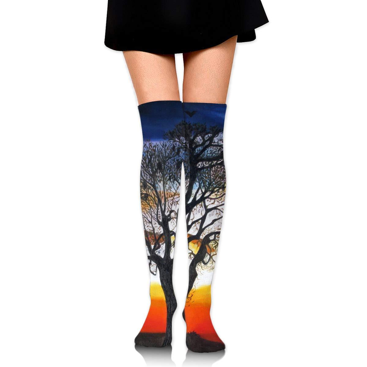 High Elasticity Girl Cotton Knee High Socks Uniform Black Tree And Bats Birds Women Tube Socks