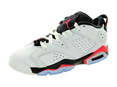 newest 1bd61 ff348 Jordan Nike Kids Air 6 Retro Low Bg White Infrared 23-Black Basketball Shoe