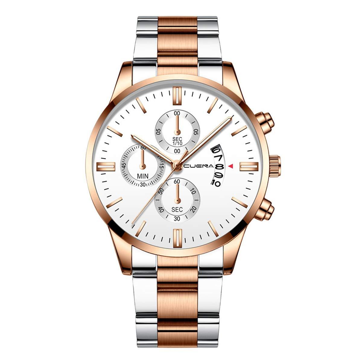 ZODRQ Men's Watch,Fashion Waterproof Sport Watches Stainless Steel Wrist Watch Wristwatch Date Quartz Watch for Men Gift (E) by ZODRQ