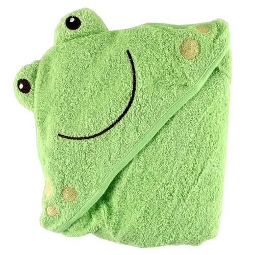 Friends Bath Towel (Luvable Friends Animal Face Hooded Woven Terry Baby Towel, Frog)