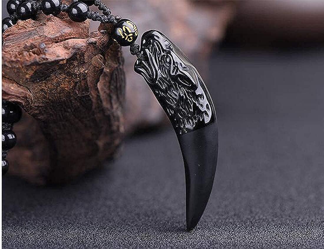 obsidiana de diente de lobo con cadena de cuentas extendidas Collar con colgante de obsidiana para mujer hombre amuleto de protecci/ón