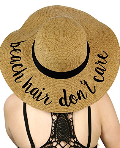 C.C Women's Paper Weaved Crushable Beach Embroidered Quote Floppy Brim Sun Hat, Beach Hair Don't (Quote Womens Cap)