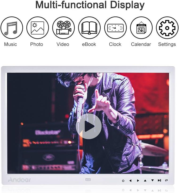 Marcos Digitals para Fotos y Vídeos Andoer 15 Pulgadas 1280x800 Apoyo HD 1080P Marco de Fotos Digital(Reproductor MP3 y MP4)Video,E-Book,Despertador,Calendario,con Control Remot,Regalo para Navidad: Amazon.es: Electrónica