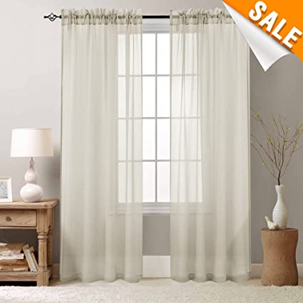 Amazon Com Bedroom Window Sheer Curtains Nature 84 Inch Rod Pocket