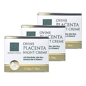NATURE'S BEAUTY OVINE PLACENTA NIGHT CREAM 50g with shea butter, Aloe Vera, Botanical Oils & Vitamin E (Pack of 3)
