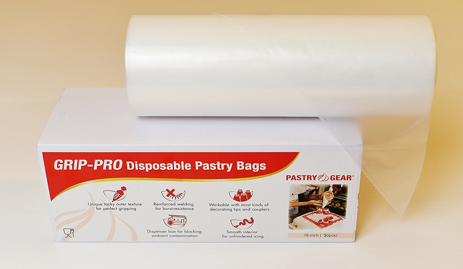PastryGear Grip-Pro 18-inch Anti-slip Ultra Thick Disposable Pastry/Piping Bags with Dispenser (Roll of 50 Pcs)