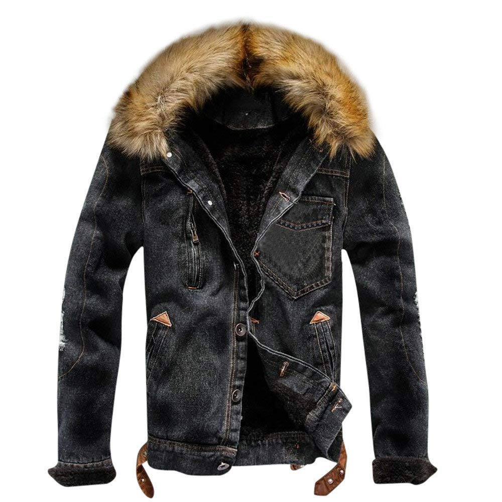 Men/'s Winter Warm Fur Collar Denim Jacket Fleece Thick Padded Coat Outwear Parka