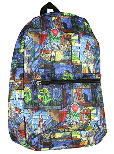 Disney Beauty and The Beast Movie Stained Glass Allover Graphic Backpack