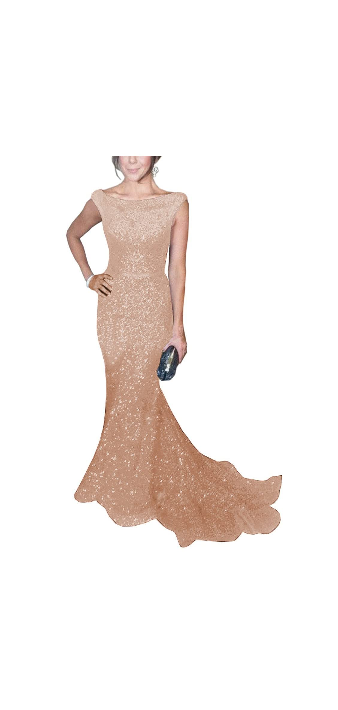Women's Mermaid Sequined Formal Evening Dress For
