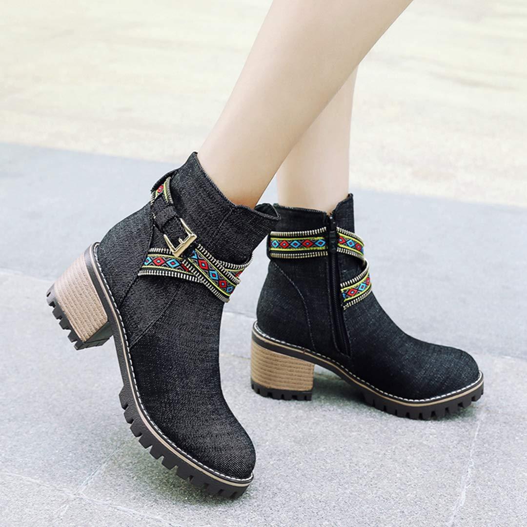 OLADO Hohe Stiefel für Damenmode Vintage Vintage Vintage Winter Runde Zehe Warm Plüschkappe Stiefelie  2cb90a