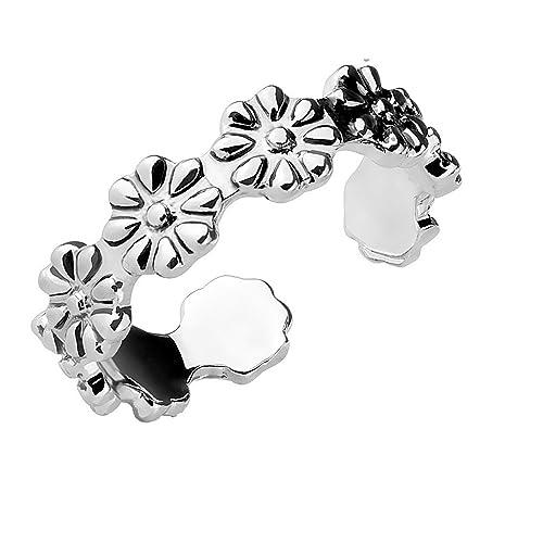 Tapsi´s Coolbodyart® Damen Kinder Mädchen Fingerring Zehenring verstellbar aus Messing in Silber mit Blumen