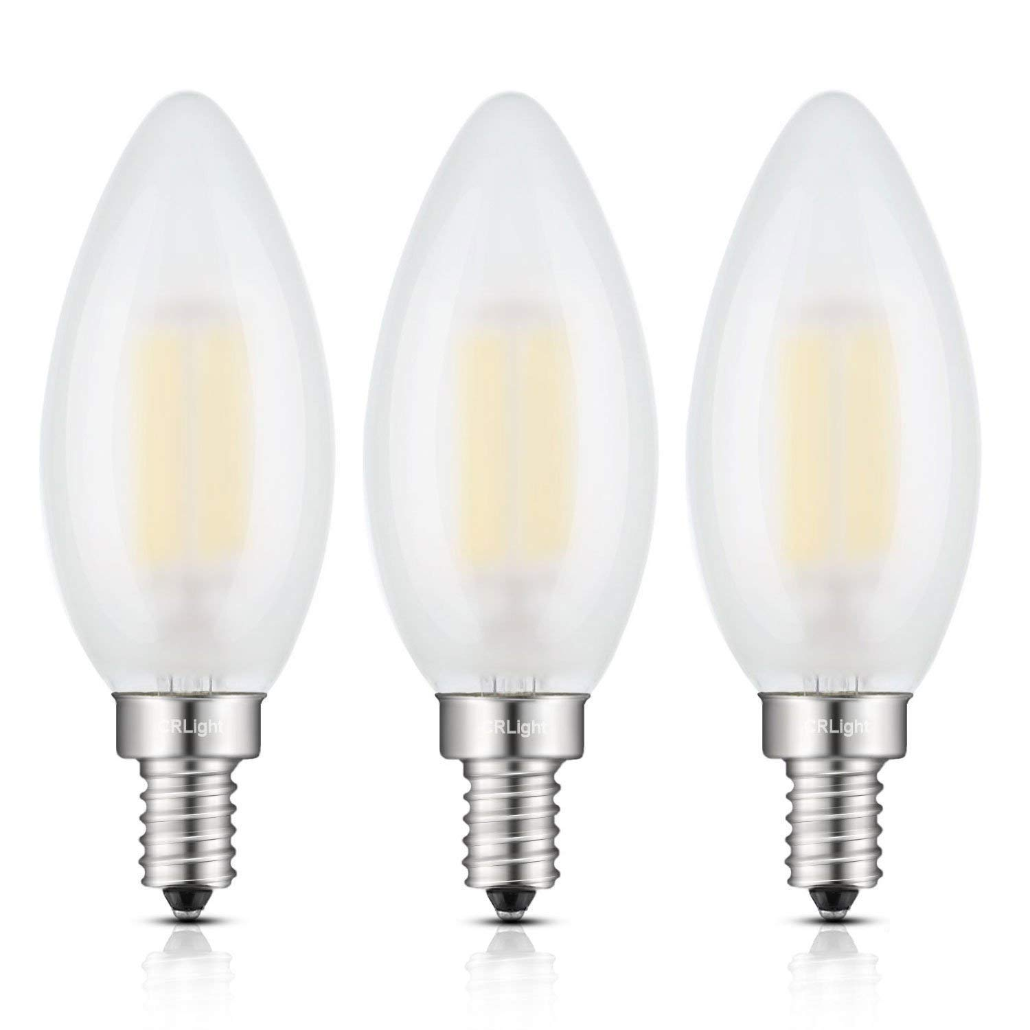 Crlight Led Candelabra Bulb 6w 4000k Daylight Neutral White 60w Equivalent 600lm E12 Base Dimmable Candle Bulbs C35 Frosted Glass Torpedo Shape