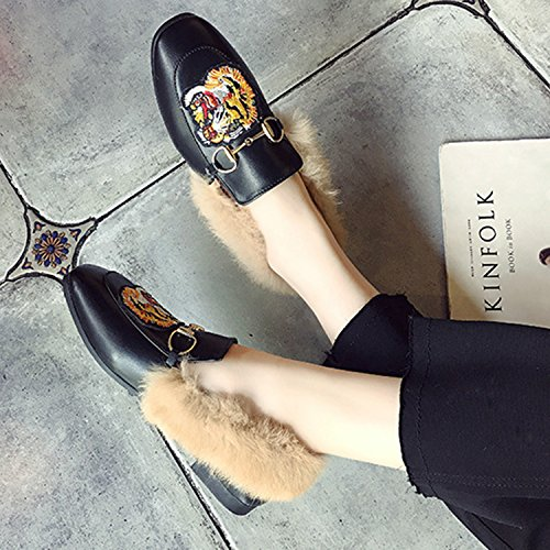 Fur red Horsebit Oasap on Square Embroidery Toe Faux Women's Shoes Slip 1Tnw6B