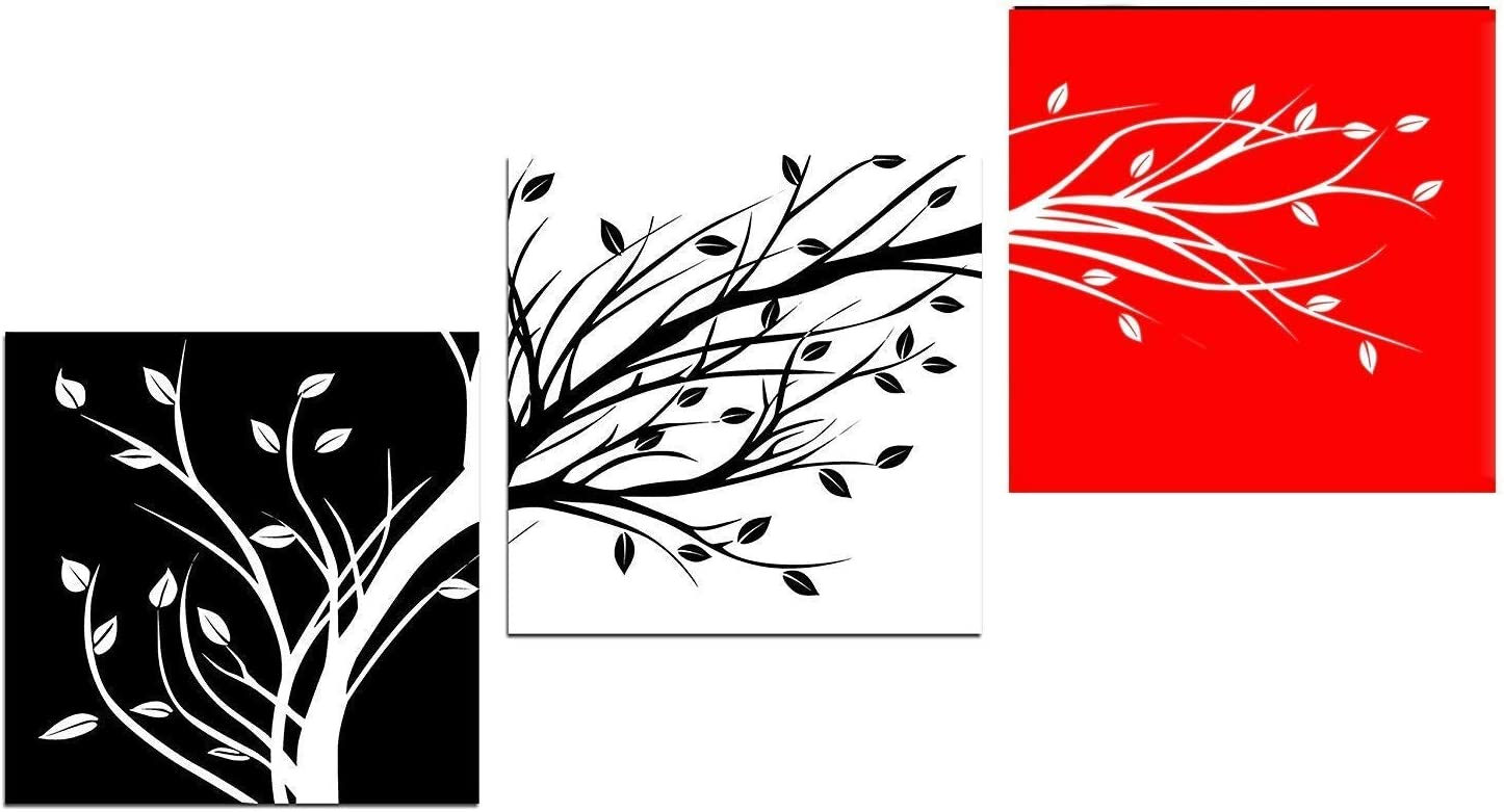 Leaves 3 Panels Flowers Artwork Canvas Print Black White Red Abstract Floral Tree Pictures Paintings on Canvas Wall Art for Living Room Home Decor