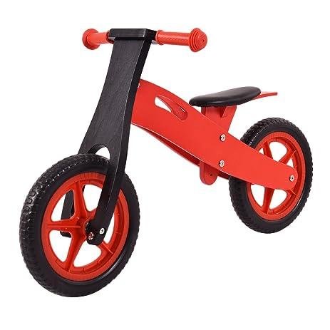12 Red Black Wooden Balance Bike Classic No Pedal