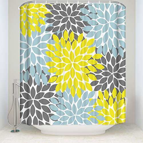 er Curtain Multicolor Dahlia Pinnata Flower Pattern Print Waterproof Fabric Polyester Custom Bathroom Curtain Sets Yellow, Gray, Light Blue Collections 72x84Inches ()