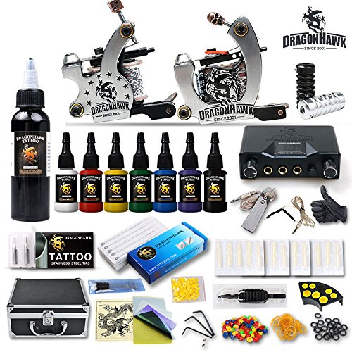 Professional Complete Tattoo Kit 2 Top Machine Gun 8 Color Ink 50 Needles Power Supply