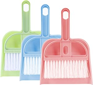 Lamoutor 3 Pack Mini Hand Broom and Dustpan Set Small Dust Pans with Brush Set Cleaning Tool for Desk, Car and Animal Waste