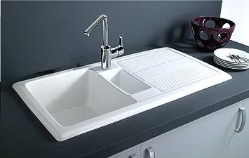 Keramik Spülstein Küchen-Spüle weiß Lotus Einbauspüle Abwäsche ...