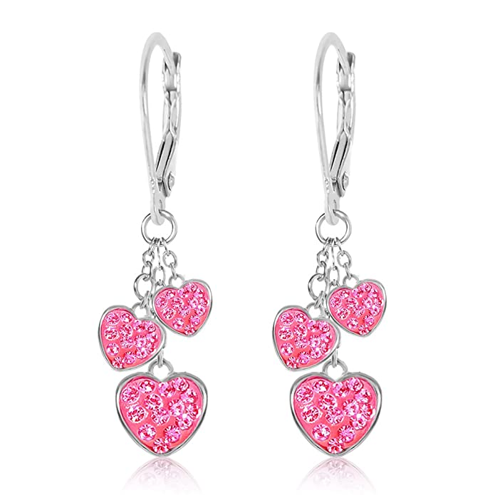 12ad6ebfb Amazon.com: Premium 8MM Crystal Heart Leverback Kids Baby Girl Earrings By  Chanteur - White Gold Toned - Perfect Gift For Children: Jewelry