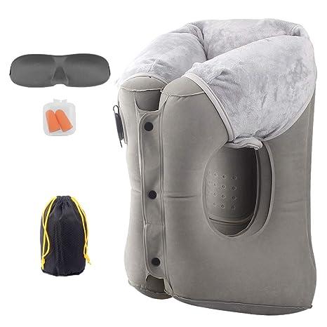 Amazon.com: Almohada hinchable de viaje para el cuello de ...