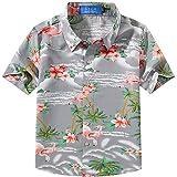 Kyпить SSLR Big Boy's Pink Flamingos Button Down Casual Short Sleeve Hawaiian Shirt (Medium(10-12), Light Grey) на Amazon.com