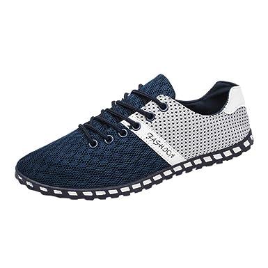 Bestow Zapatos de Guisantes Deportivos Ocasionales de los Hombres Moda Hombres Malla Informal Zapatillas cómodas y Transpirables Zapatos Planos: Amazon.es: ...