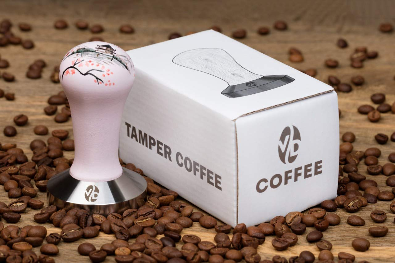 Espresso Tamper Handle Solid Wood Coffee Press Tool Tamper mm Tamper Tamper Espresso pink, 57mm Stainless Steel Espresso Tamper Coffee Tamper ArtSakura