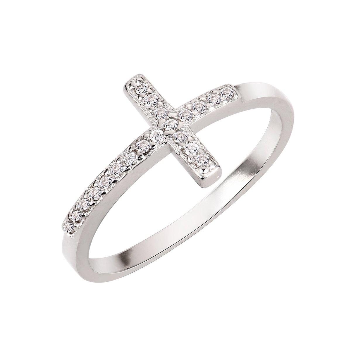 CloseoutWarehouse Cubic Zirconia Saint John Sideway Cross Ring Sterling Silver Size 5