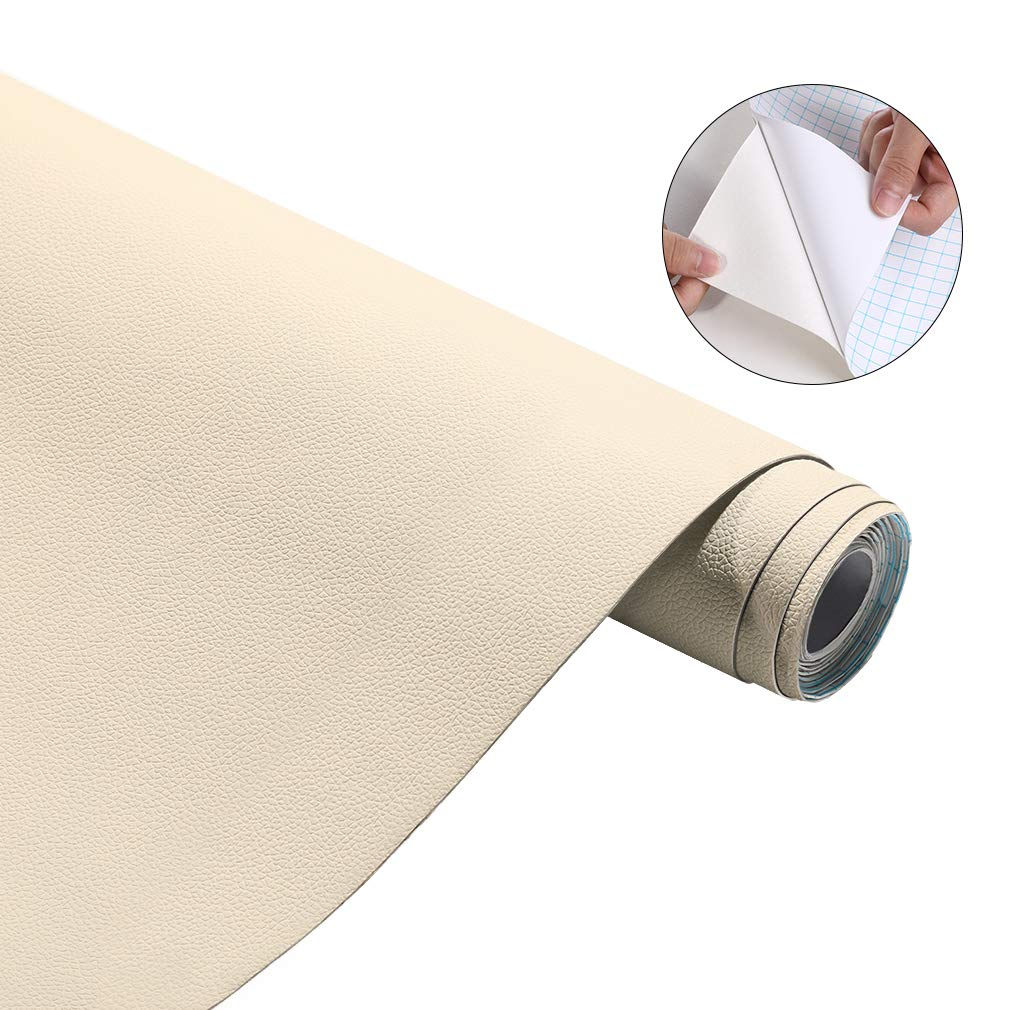 "Oxdigi Self Adhesive PU Leather Wrap Film DIY Sticker Cover/Repair Cabinets Chair Sofa Car Seat Table Waterproof Decorative Contact Paper Wallpaper 17.7"" x 78.7 Beige White"