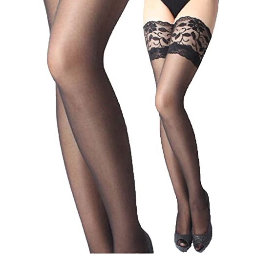 e6b1556784a01 Women Sheer Lace Top Thigh High Silk Stockings (Black) at Amazon ...