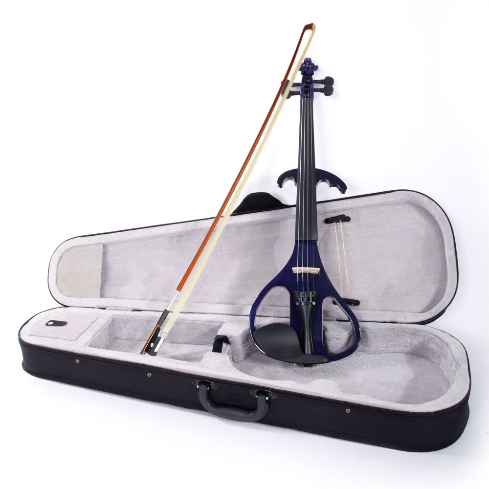 4/4'' Basswood Electric Violin Case Rosin Head Set Bow Battery Connecting Line Purple (Purple) by Lykos
