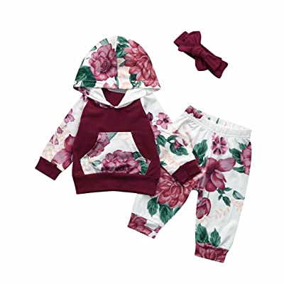 3Pcs Toddler Outfits, Sexyp Baby Girl Boy Cute Floral Hoodie Tops+Stripe Pants With Headband 0 Shipping