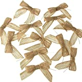 Homeford FHV0BOW26402 Burlap Jute Pre-Tied Pull Bow (12 Pack), 7/8'', Natural
