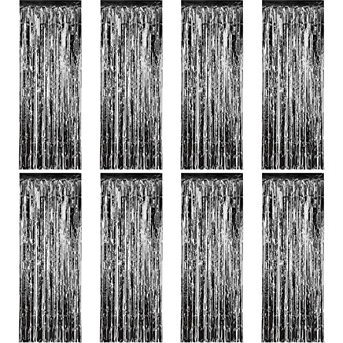 Sumind 8 Pack Foil Curtains Fringe Curtains Tinsel Backdrop Metallic Curtains for Birthday Wedding Party Photo Booth Decorations (Black)