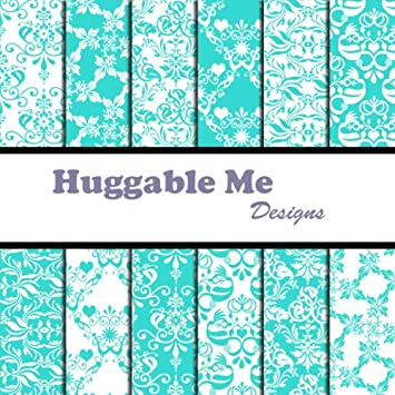 Amazon Tiffany Blue Damask Scrapbook Paper On Cd Toys Games