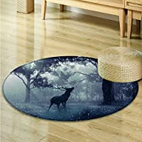 Round Rugs for Bedroom Big forests and deer in dense fog Circle Rugs for Living Room -Round 71
