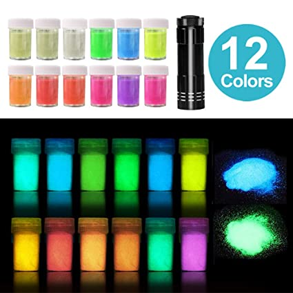 12 Colors Glow In The Dark Powder With Uv Lamp Skin Safe Epoxy Resin Luminous Pigment For Nail Polish Slime Acrylic Paint 240g In Shake Jars