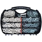 T.K.Excellent T.K.Excellent Plastic Self Drilling Drywall Ribbed Anchors Solid Materials Drywall Anchor 340 Pcs and Chipboard Screws 340 Pcs Assortment Kit