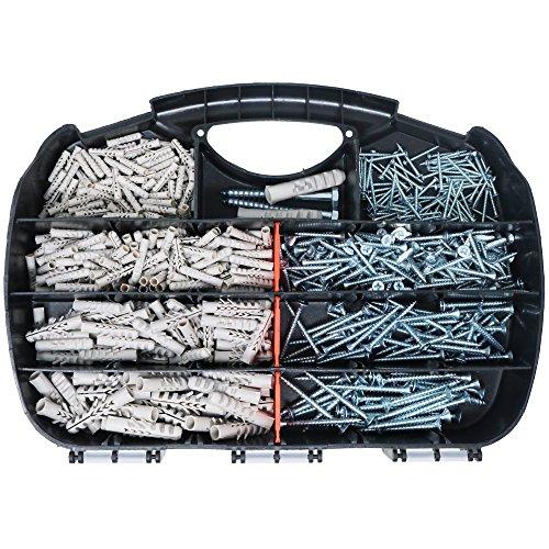 T.K.Excellent T.K.Excellent Plastic Self Drilling Drywall Ribbed Anchors Solid Materials Drywall Anchor 340 Pcs and Chipboard Screws 340 Pcs Assortment Kit by T.K.Excellent