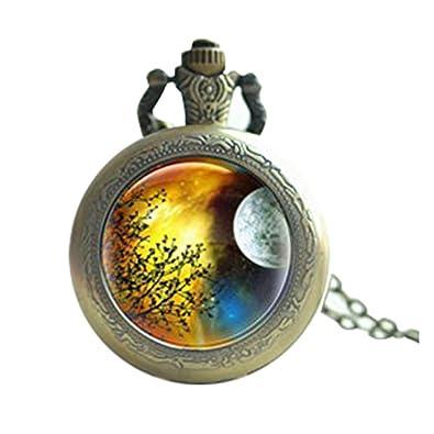 Árbol de Luna Llena Luna Reloj de bolsillo, reloj collar con ...